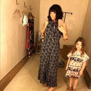 Anthropologie Maeve Black floral jumpsuit
